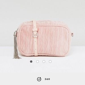 ASOS Pink Quilted Camera Bag with Chain and Tassel